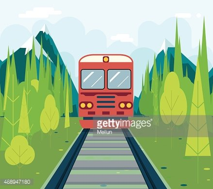 Wagons IN Forest Tourism and Journey Symbol Railroad Train.