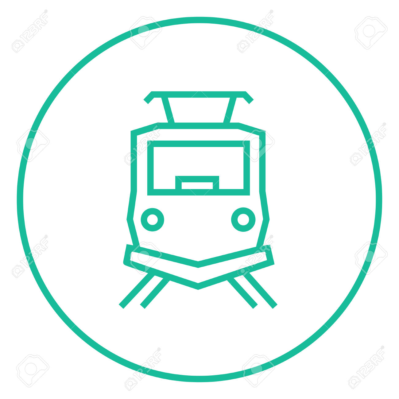 Front View Of Train Thick Line Icon With Pointed Corners And.