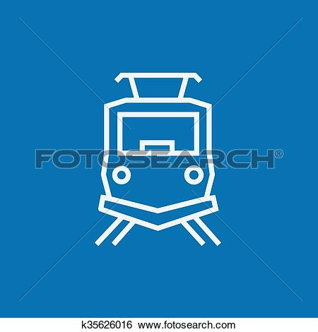 Clip Art of Front view of train line icon. k35626016.