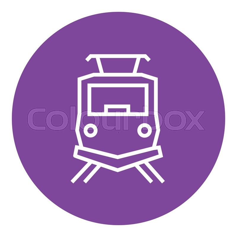 Front view of train thick line icon with pointed corners and edges.