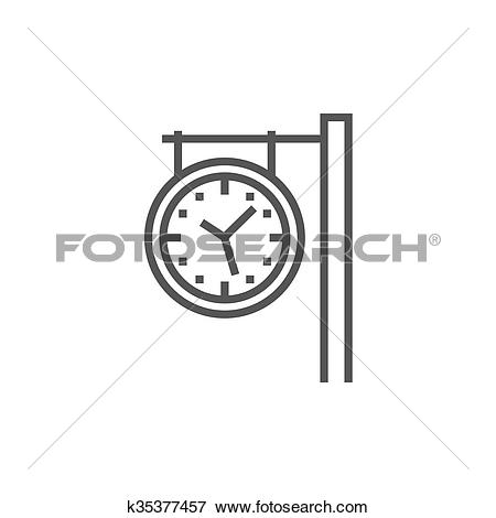 Clip Art of Train station clock line icon. k35377457.