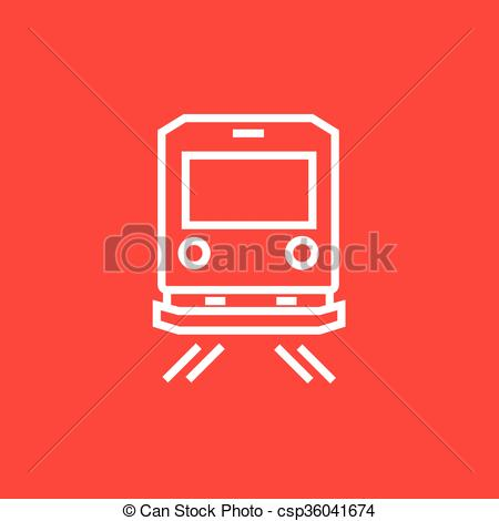 Vectors Illustration of Back view of train line icon..