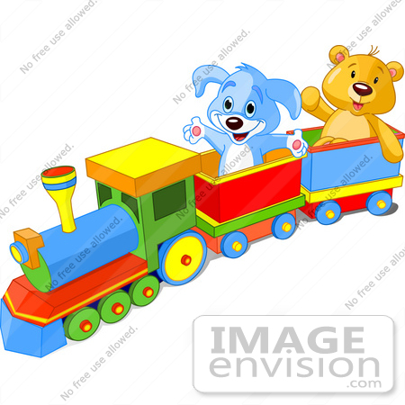 Clip Art Of A Happy Blue Puppy And Friendly Teddy Bear Enjoying A.