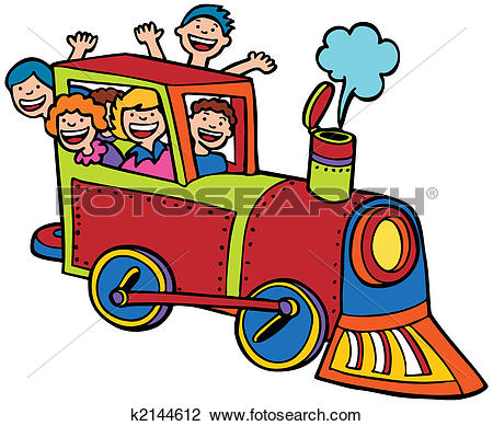 Clipart of Cartoon Train Ride Color k2144612.