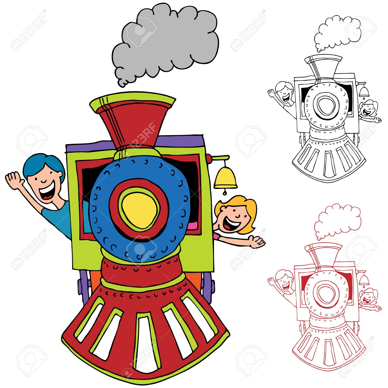An Image Of Children Riding On A Train. Royalty Free Cliparts.