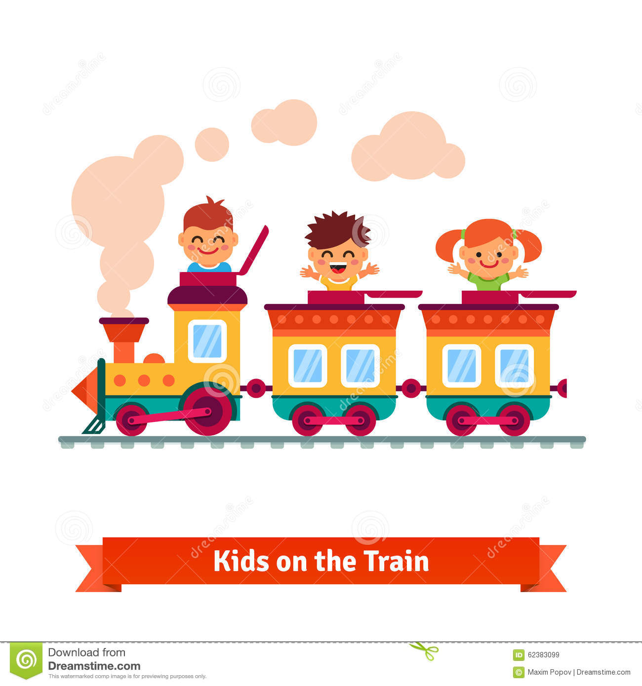 Clipart of boy riding train with animals.