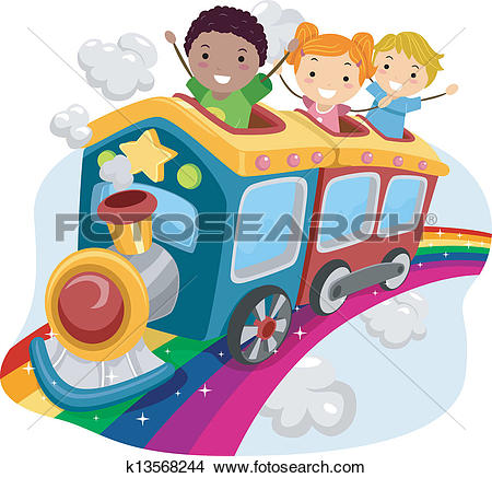 Clipart of Cartoon Park Train Ride Color k2144613.
