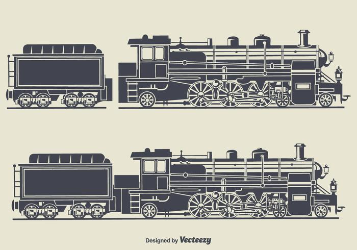 Retro Train Silhouette Vector Illustration.