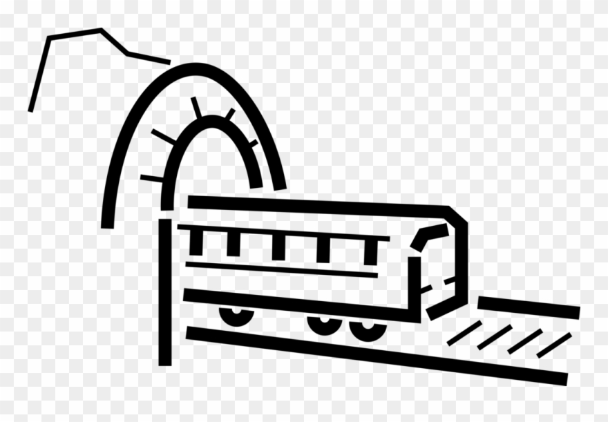 Vector Illustration Of Mountain Tunnel With Rail Transport.