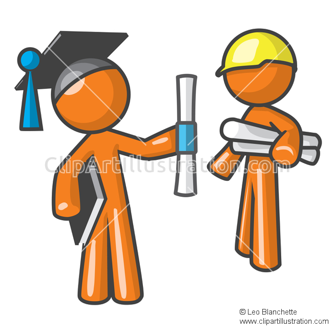 ClipArt Illustration of Orange Man Apprentice Graduate and Trained.