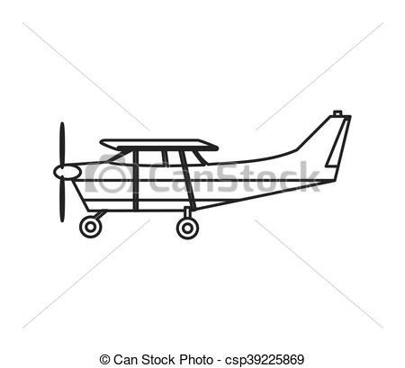 Clip Art Vector of aerobatic or trainer airplane icon.