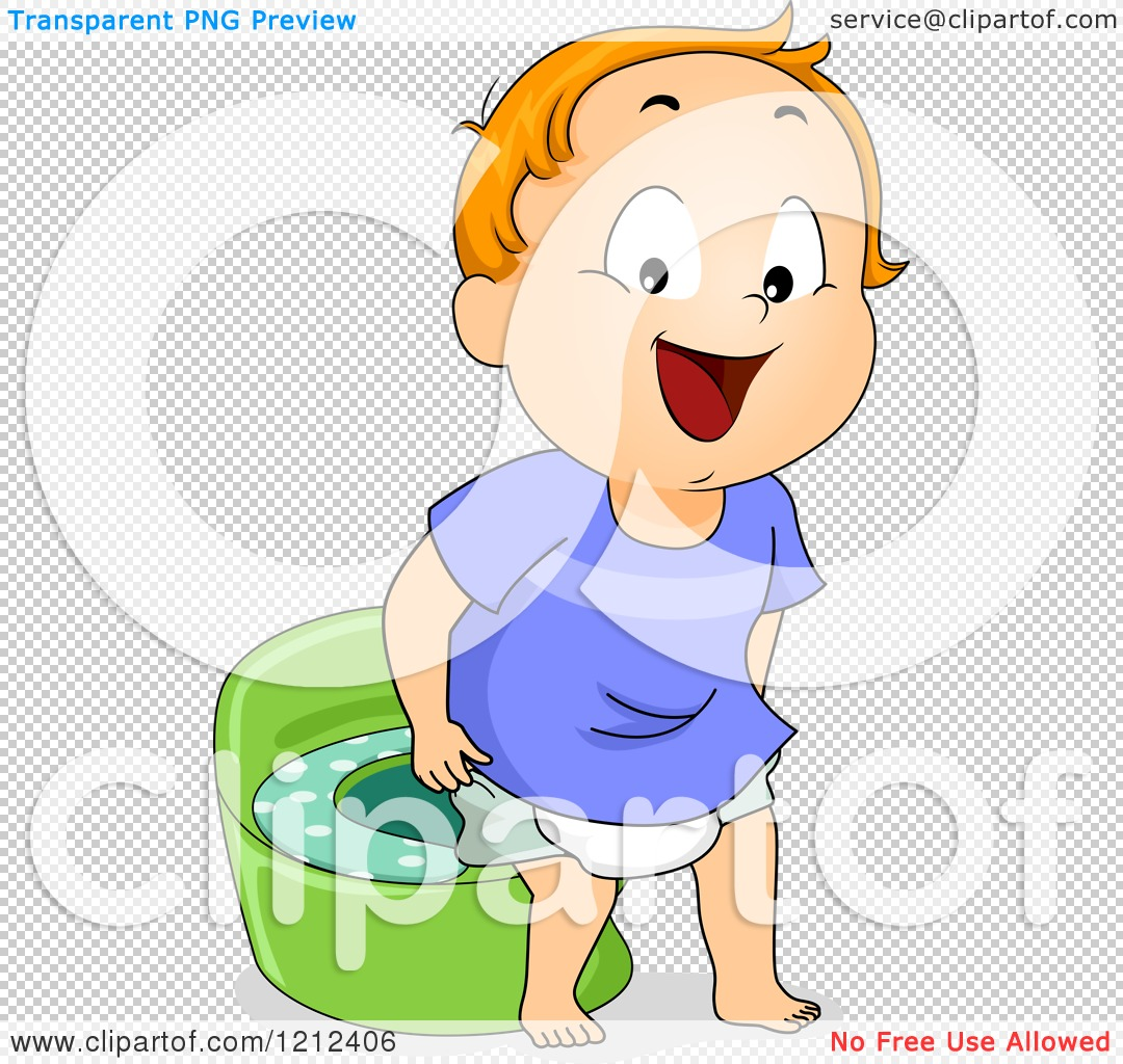 Cartoon of a Boy Standing by a Potty Training Device.