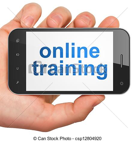 Clip Art of Education concept: smartphone with Online Training.