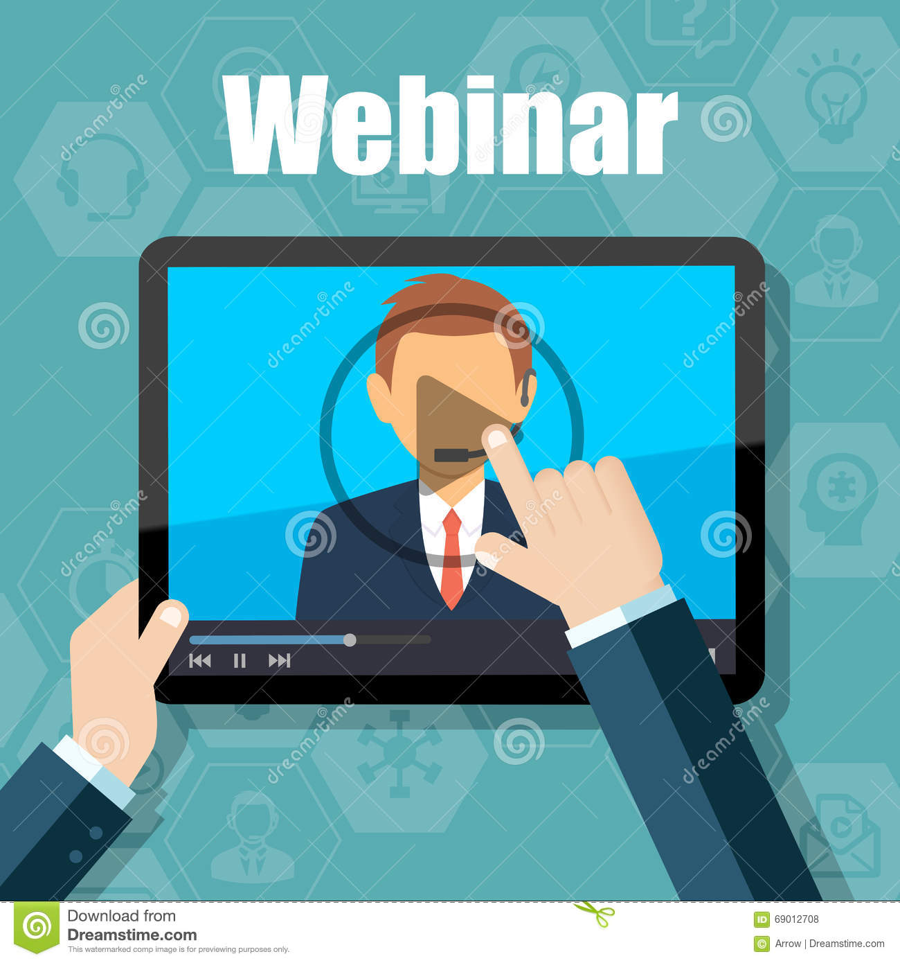 Webinar Training, Online Conference And Education Using Mobile.