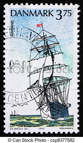 Stock Photo of Postage stamp Denmark 1993 Danmark, Training Ship.