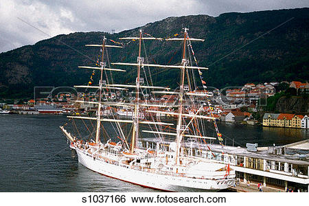 Stock Images of Tall ships docked at a harbor, Bergen Harbor.