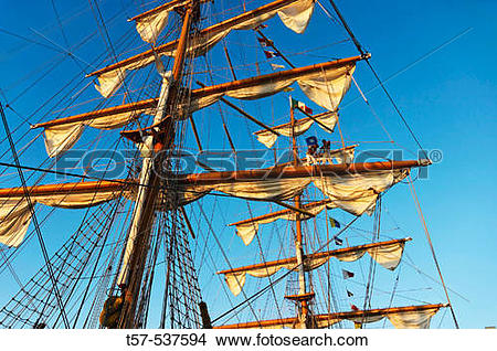 Stock Photo of Sailors in the rigging of the Mexican navy training.