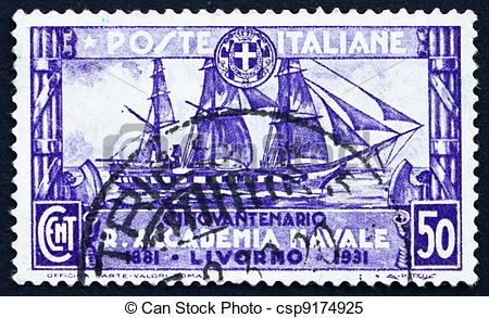 Stock Images of Postage stamp Italy 1931 Training Ship Amerigo.