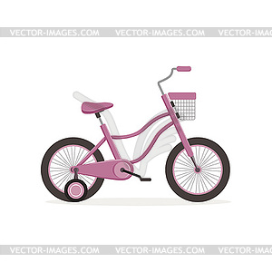 Pink bike with training wheels, kids bicycle.