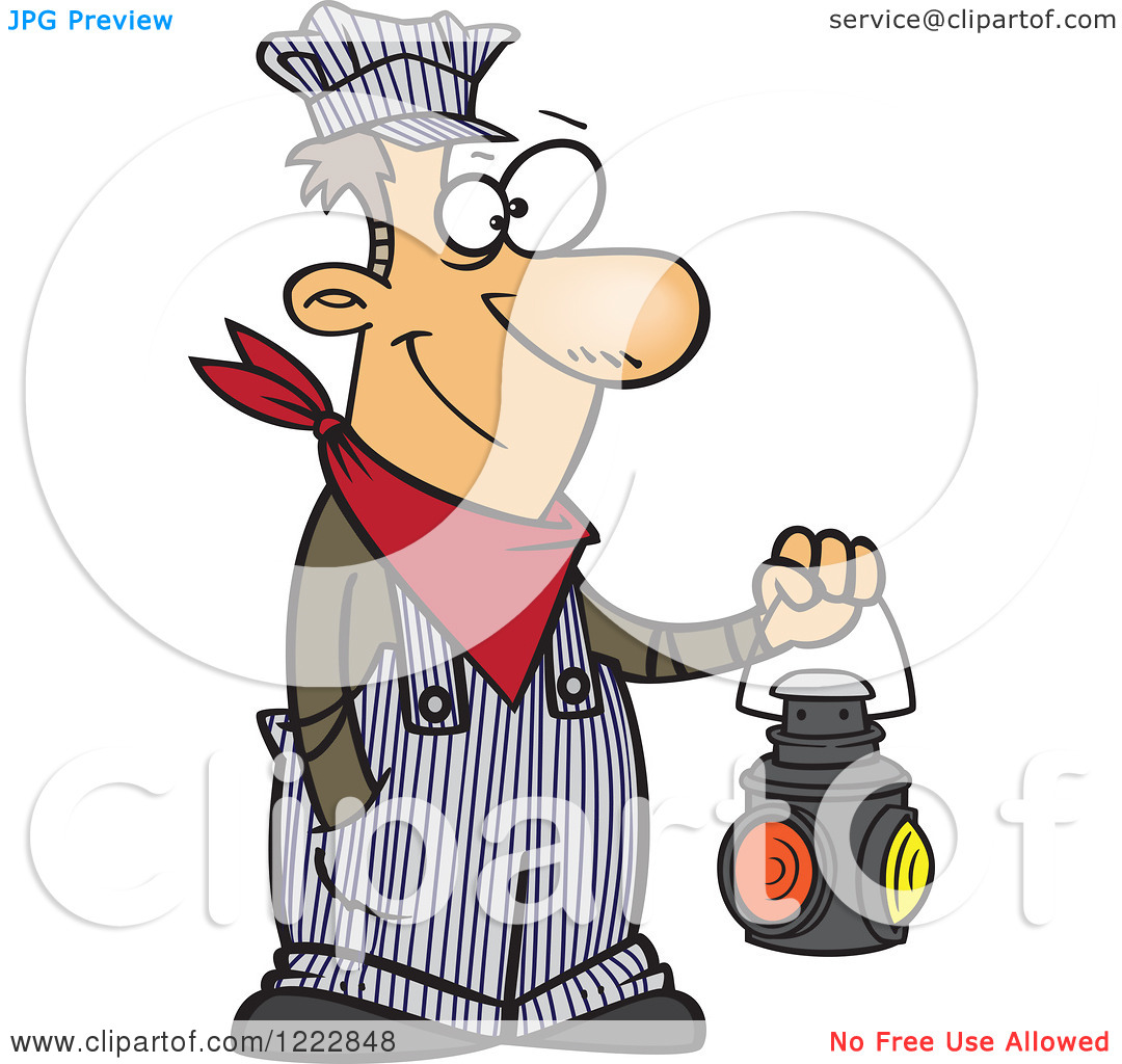 Clipart of a Happy Caucasian Train Engineer Man Holding a Lantern.