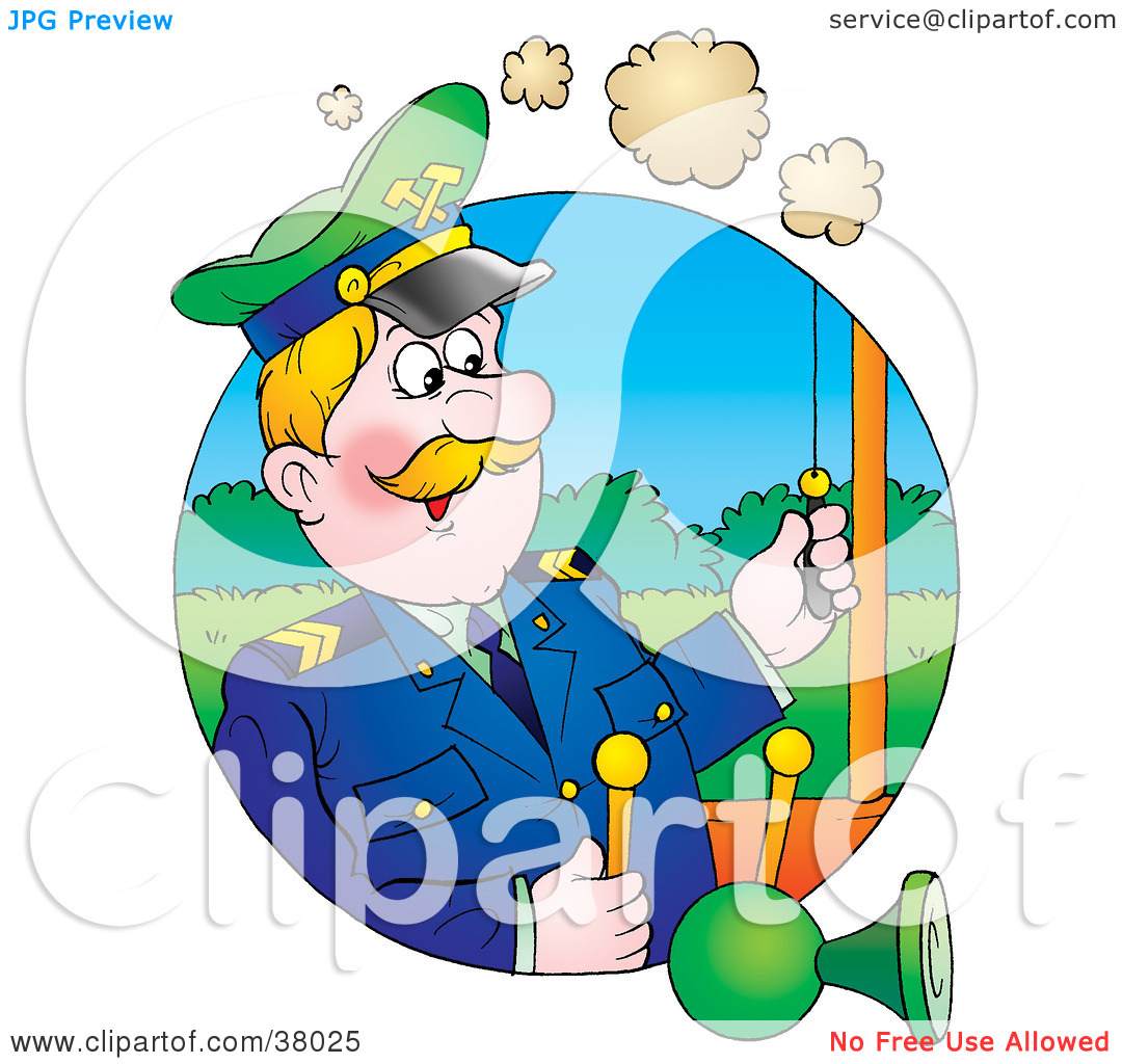 Clipart Illustration of a Man Pulling A Horn While Operating A.