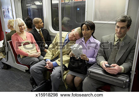 Pictures of People in subway train, man resting head on woman's.