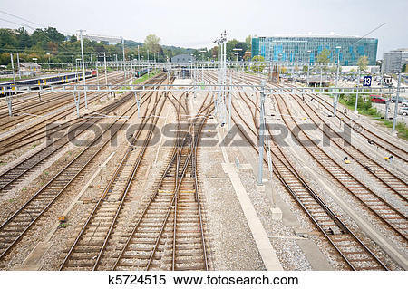 Stock Image of Railroad Train Yard and Tracks Geneva Switzerland.