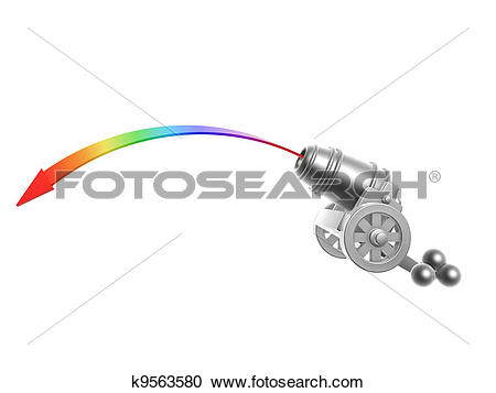 Stock Photography of cannon with rainbow Trajectory k9563580.