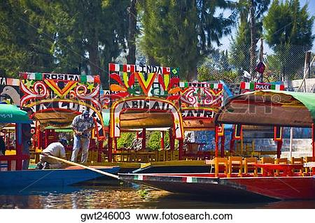 Stock Photo of Two men on a trajineras boat, Xochimilco Gardens.