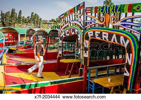 Stock Photo of Trajineras on Canal, Xochimilco, Mexico City.