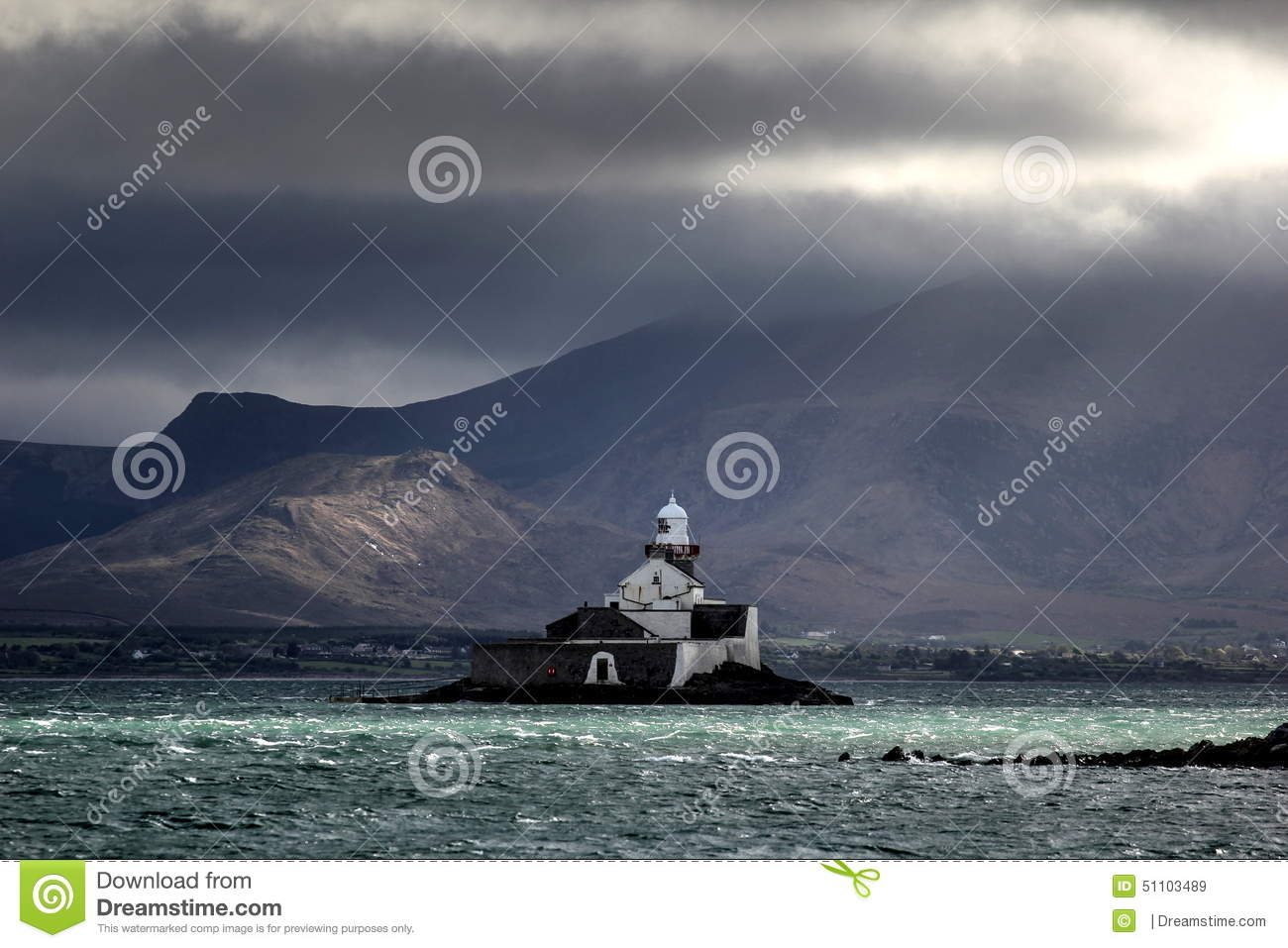 Fenit Lighthouse (little Samphire Island) Stock Photo.