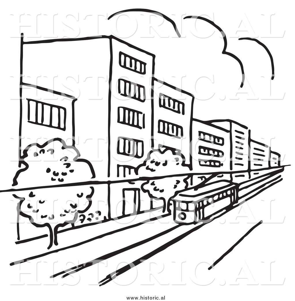 Clipart of a Tram Traveling Through a City with Buildings and.