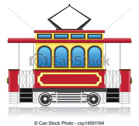 Clip Art Vector of old retro tram vector illustration isolated on.