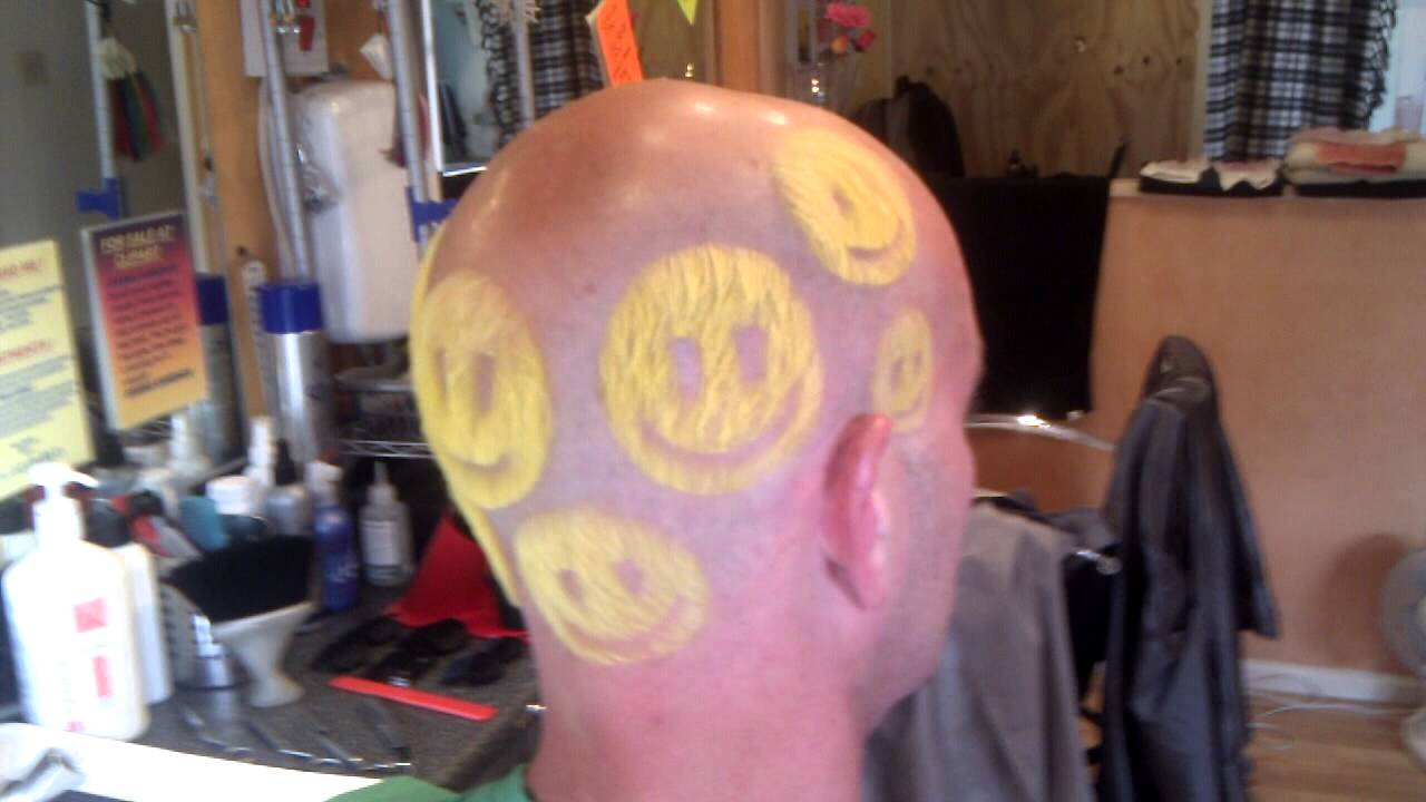 Happy head tram lines by Andy @ ClipArt Hair.