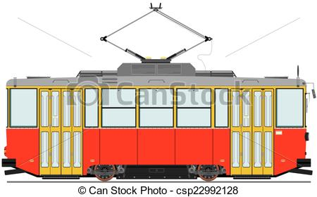 Vector Illustration of Vintage tram. Vector without gradients.