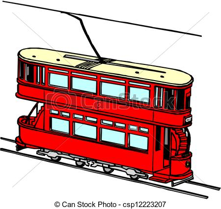 Vector Clipart of City transport. Tram csp12223207.