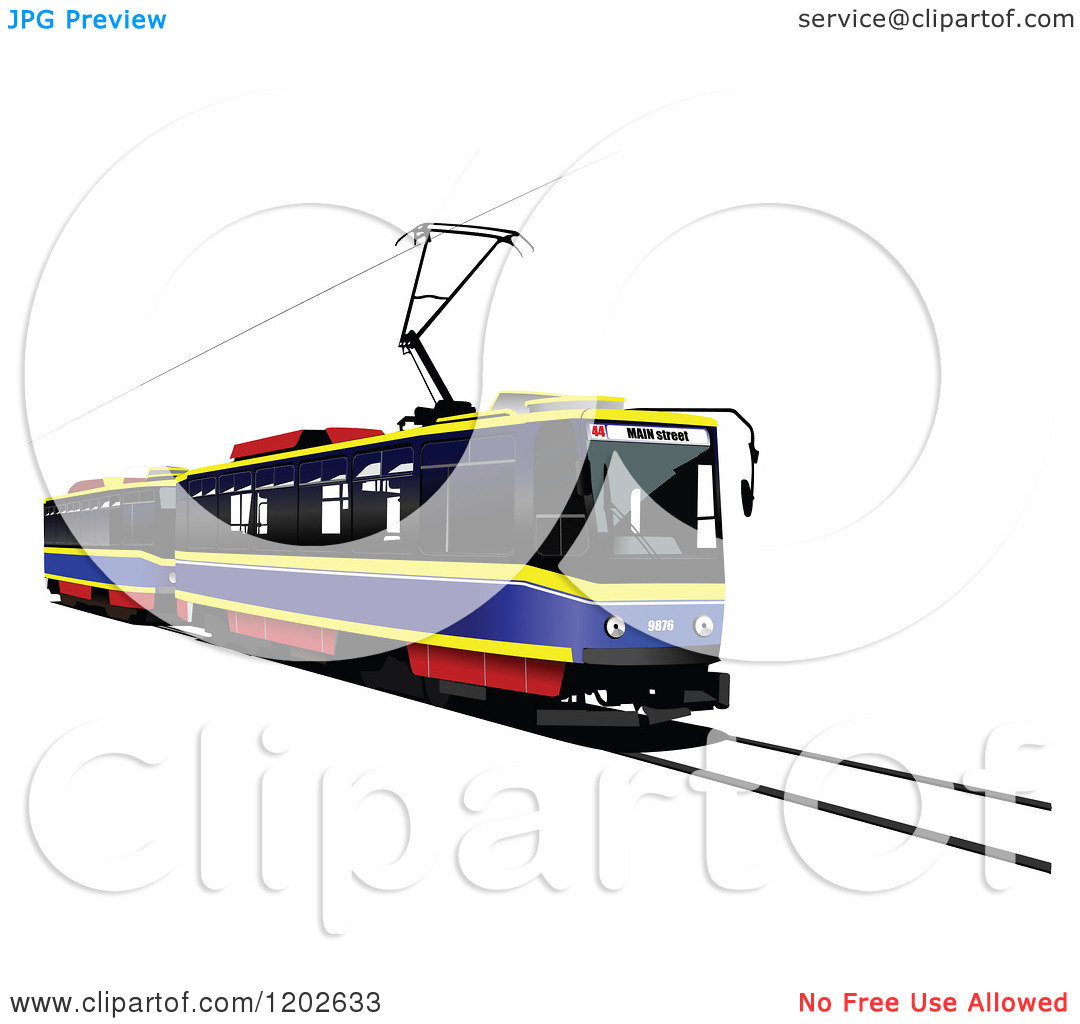 Clipart of a Tram Car on a Track.