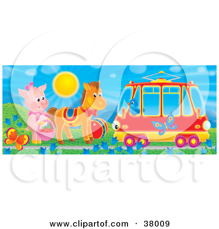 Clipart Illustration of a Bird In A Tram Car Passing A Pig And.