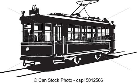 Free tram car clipart black and white.