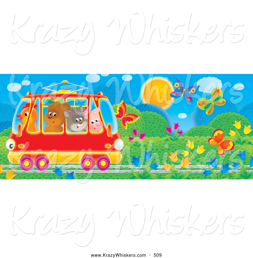 Critter Clipart of a Bright Colorful Crowded Tram Car with a.