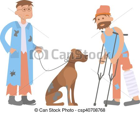 Clip Art Vector of Tramp person with homeless dog in dirty ragsand.