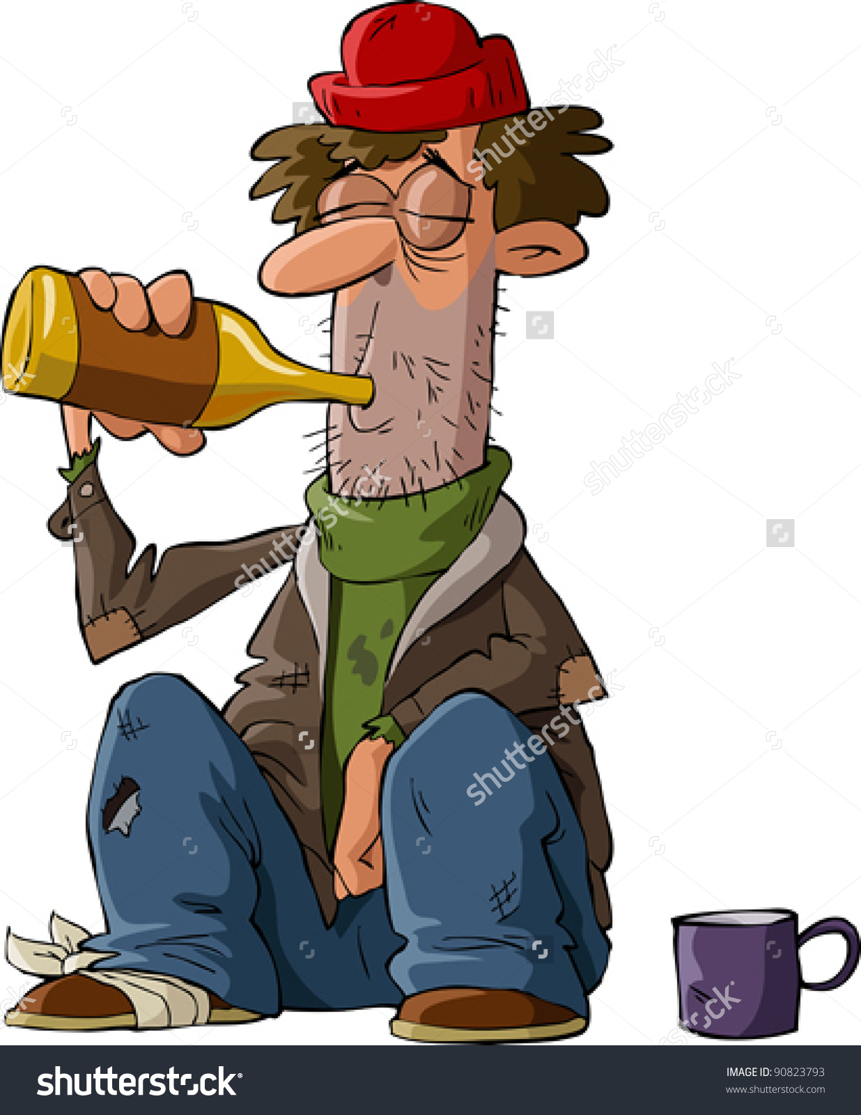 Homeless On A White Background, Vector Illustration.