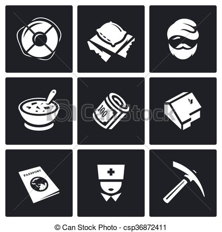 Vector Clip Art of Vector Set of Homeless Icons. Help.
