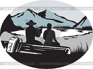 Trampers Sitting on Log Lake Mountain Oval.
