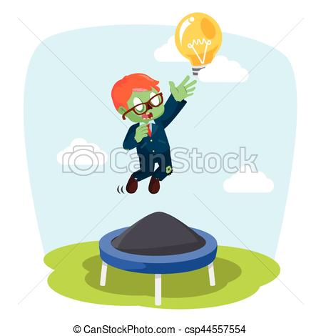 zombie businessman jumping on trampoline.