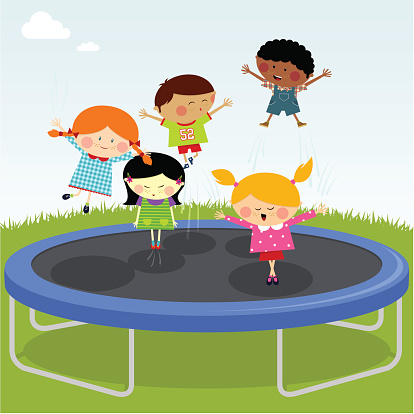 Jumping on trampoline clipart.