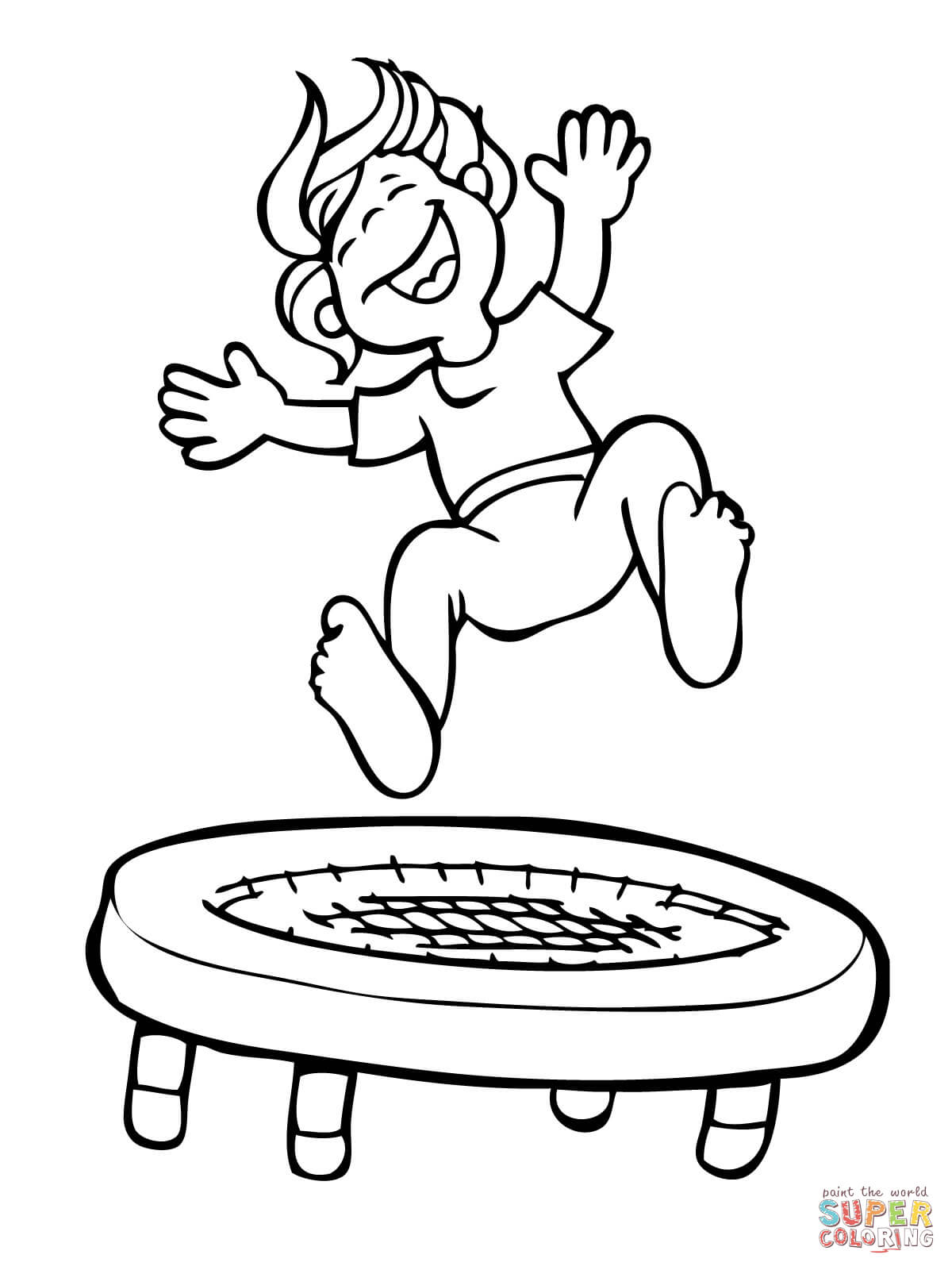 Kid Jumping on the Trampoline coloring page.