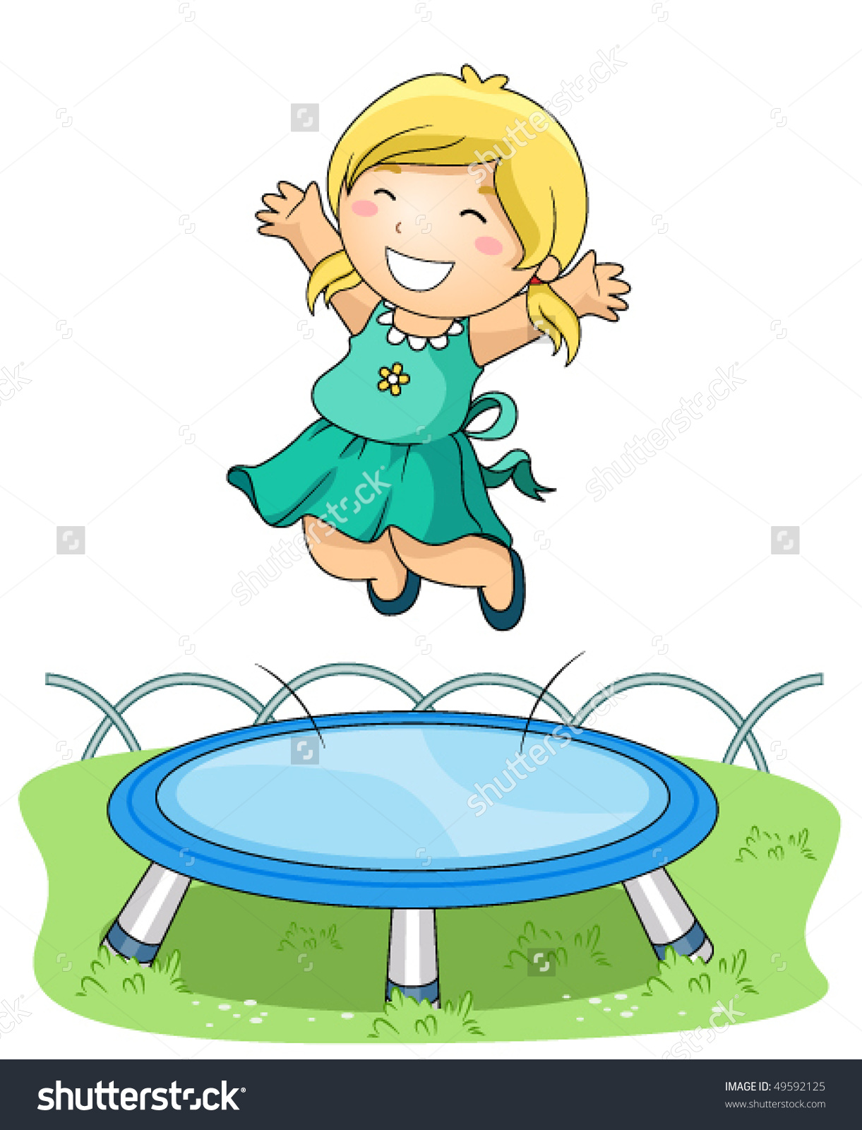 Child Jumping On Trampoline Park Vector Stock Vector 49592125.