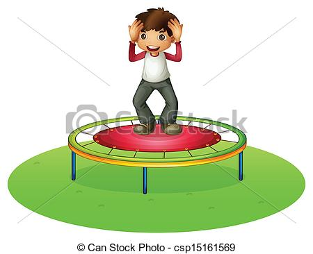 Vector Clipart of A cheerleader above a trampoline.