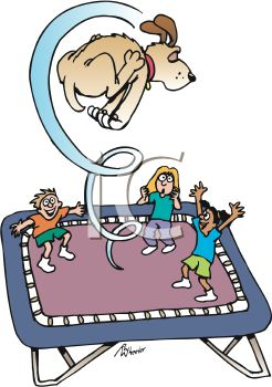 Kids and the Family Dog Playing on a Trampoline.